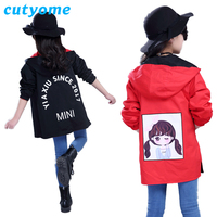 Cutyome Spring Autumn Windbreaker For Girls Toddlers Kids Both Sides Wear Long Style Letters Bomber Jackets