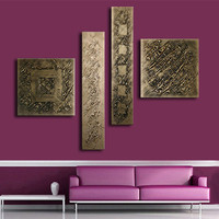 Hand painted Abstract Graffiti Oil Painting On Canvas 4 Panel Wall Art Pictures Home Decor Bronze Paintings Sets for Living Room