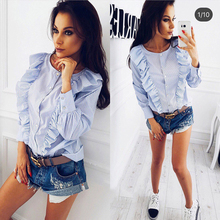 SIMIN Autumn Women Tops and Blouses 2017 New Fashion O-neck Long Sleeve Cute Women Tops Blue Striped Trim Ruffle Blouse