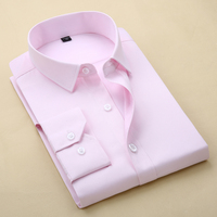 (without Chest Pocket)2018 New basical solid men dress shirts Fashion quality slim fit long sleeve turn down collar male 's top Dress Shirts