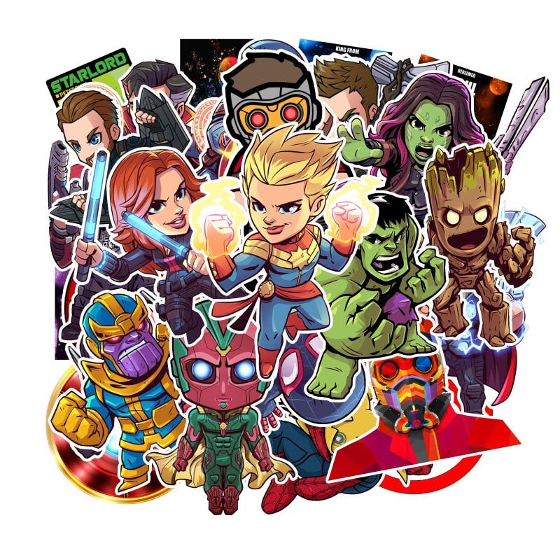 95pcs Marvel Graffiti Sticker Comic Cartoon Movie Square Stickers Children's Educational Toys Computer Skateboard