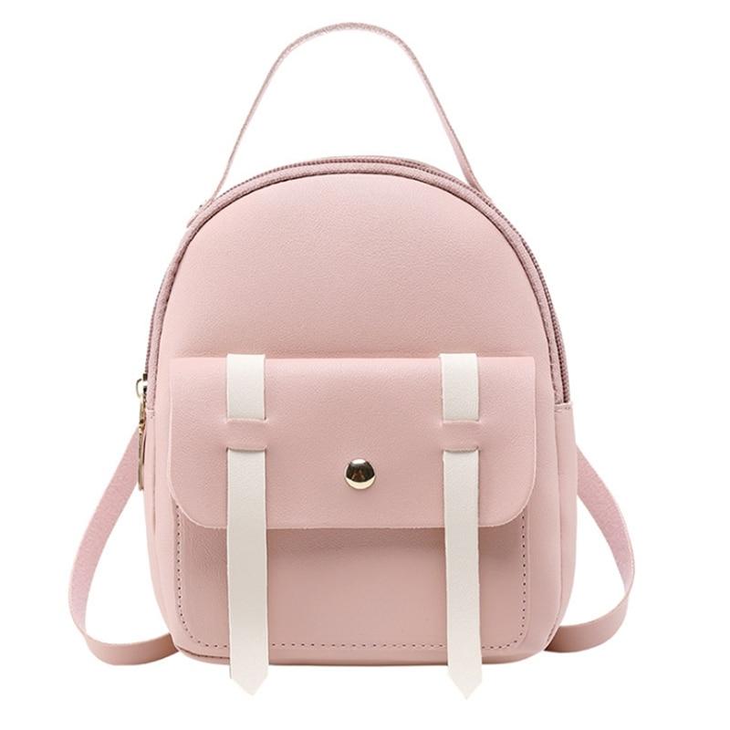 Women Backpack Pu Leather Girls Fashion Mini Small Fresh Cute Wild Bag Adolescent Teenage Girl Portable Leisure Travel