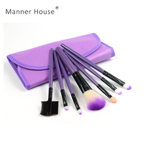 Manner H 7 PCS Makeup Brushes Set Tools Make-up Toiletry Kit Wool Brand Make Up Brush Set Case Cosmetic Foundation Brush