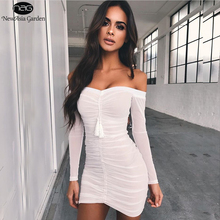 NewAsia Garden Summer Dress Off Shoulder Long Sleeve Lift Up Drawstring Ruched Pleated Mesh Women Bodycon Club Party Mini Dress