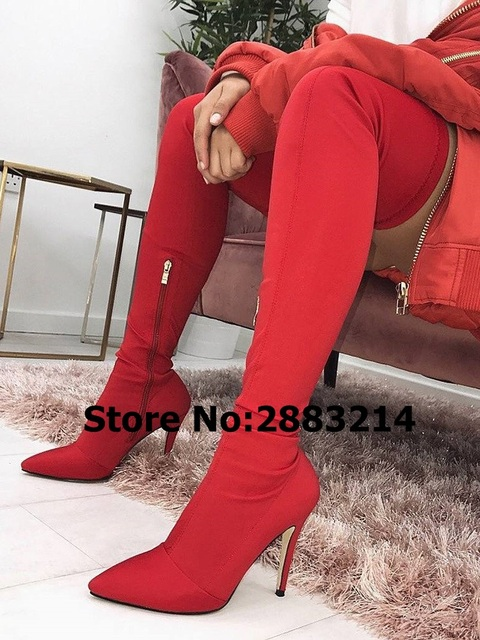 751ca096955 Hot Sale Sexy Side Zipper Thigh High Pointed Toe Heels Boots Black Red Nude  Suede Stiletto