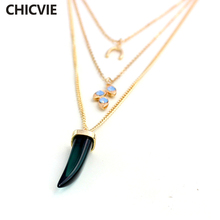 CHICVIE Fashion Boho Link Chain Multilayer Natural Stone Necklace Choker Collar Necklace Gift for Women Ethnic Jewelry SNE160056