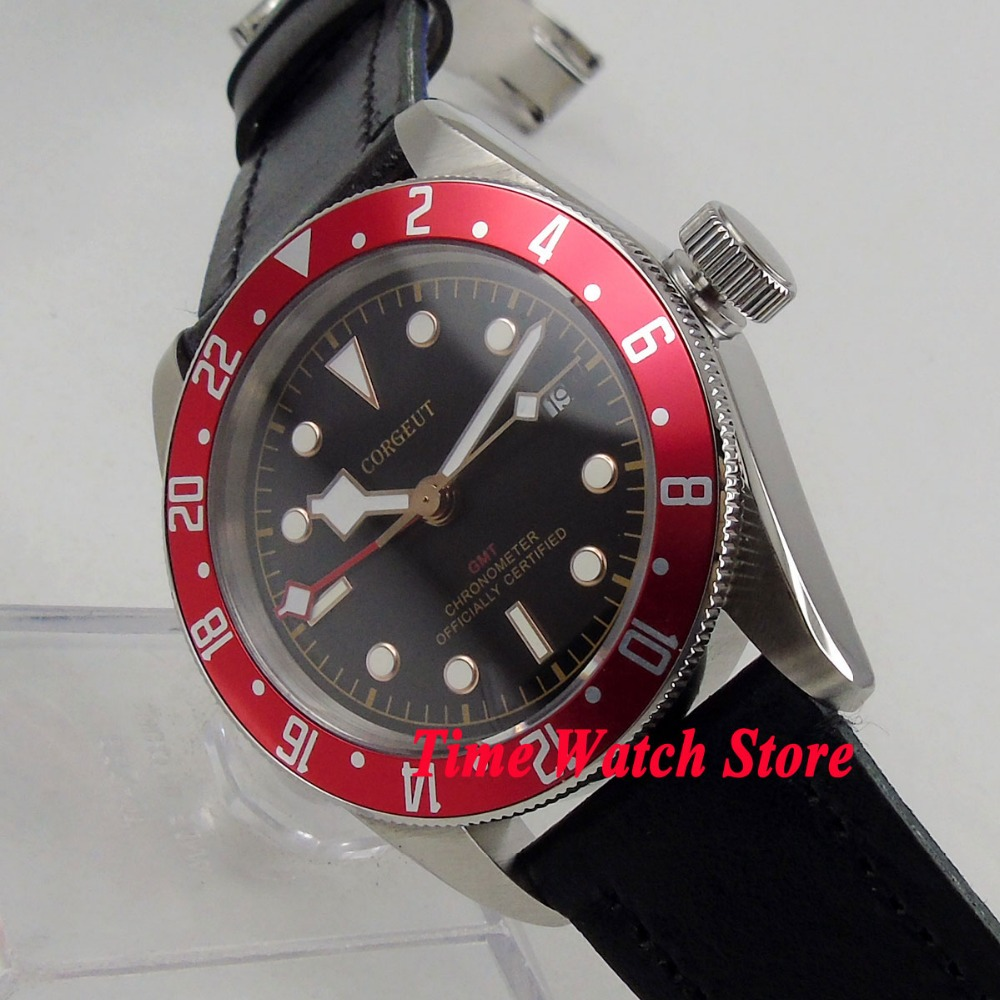 41mm Corgeut GMT watch black dial luminous Red rotating Bezel sapphire glass Automatic movement mens watch cor11241mm Corgeut GMT watch black dial luminous Red rotating Bezel sapphire glass Automatic movement mens watch cor112