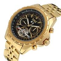 Jaragar marca superior relógios de automóvel masculino tourbillon 2 pequenos sub-mostradores de trabalho aço completo ouro luxo relógios mecânicos para o homem