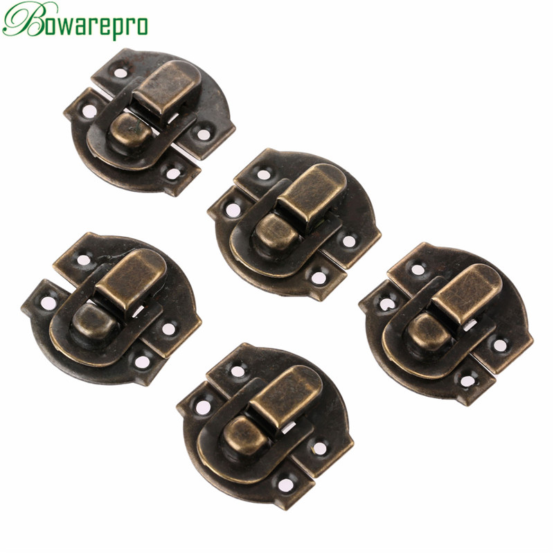 Bowarepro 10Pcs Antique Hasps Iron Lock Catch Latches For Jewelry Chest Box Suitcase Buckle Clip Clasp Vintage Hardware 27*29mm