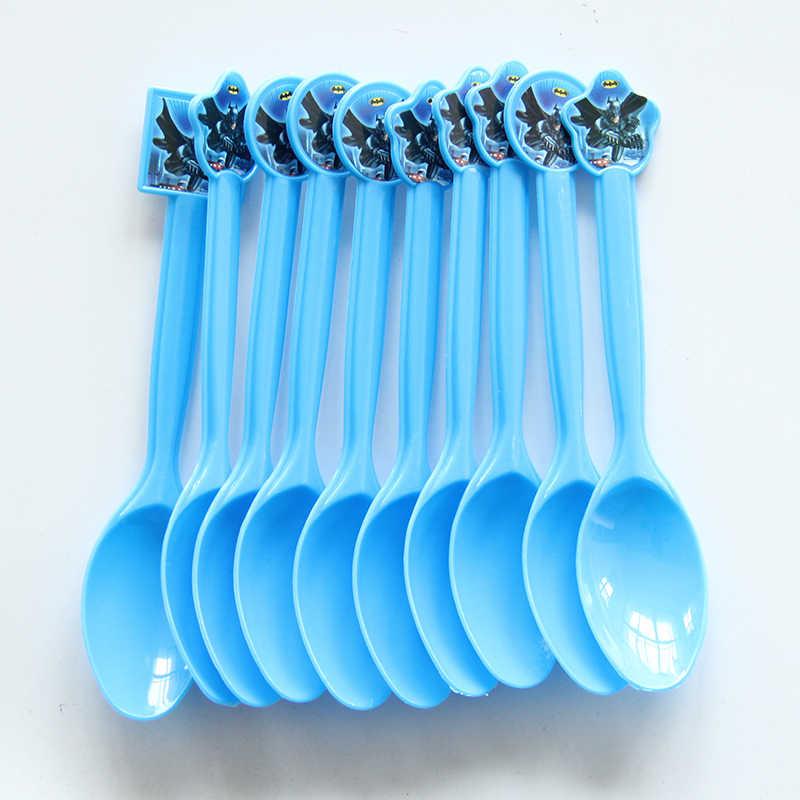 การ์ตูน Batman Theme ทิ้งพลาสติกช้อนมีด Forks สำหรับอาบน้ำเด็กเด็กวันเกิดเทศกาล Party อุปกรณ์ตกแต่ง