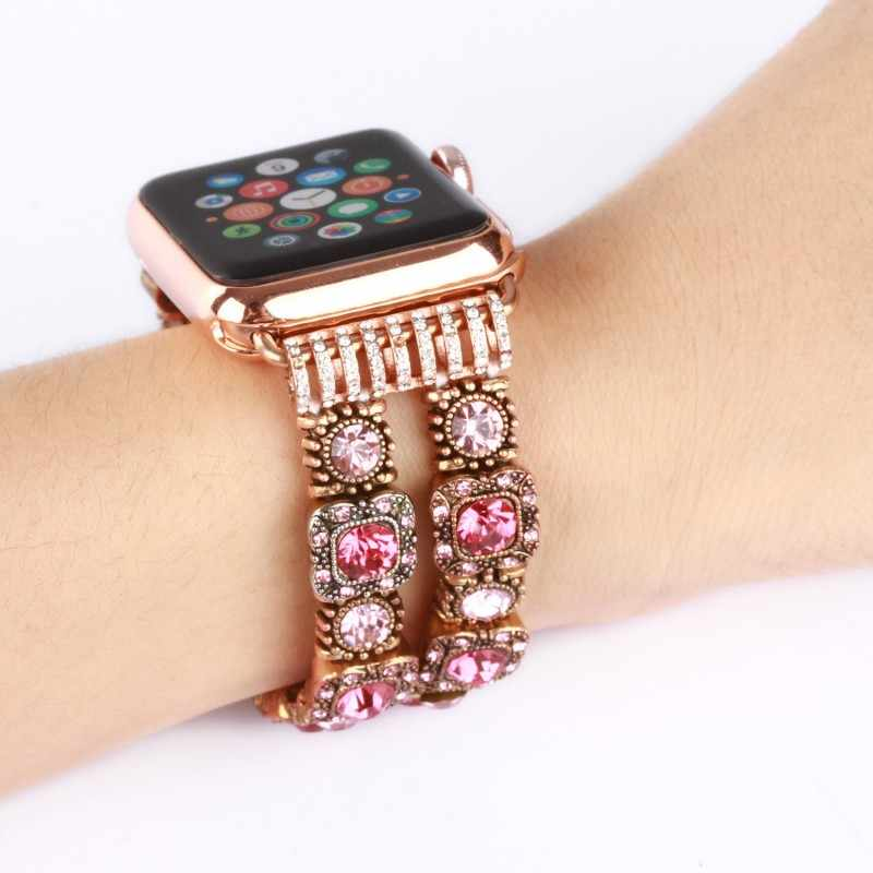 Handmade Crystal Stones Elastic Band Watch Strap for apple watch series 1 /2/3/4 38mm 42mm 40mm 44mm Bracelet Watchband
