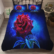A Bedding Set 3D Printed Duvet Cover Bed Rose Flowers Plant Home Textiles for Adults Bedclothes with Pillowcase #XH11