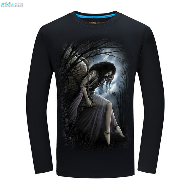 boy child shirt  Brand Trend 3D Night angel Printed Slim Fit Long Sleeve Casual Cotton Men's T-Shirts Plus Size S-5XL tops cloth