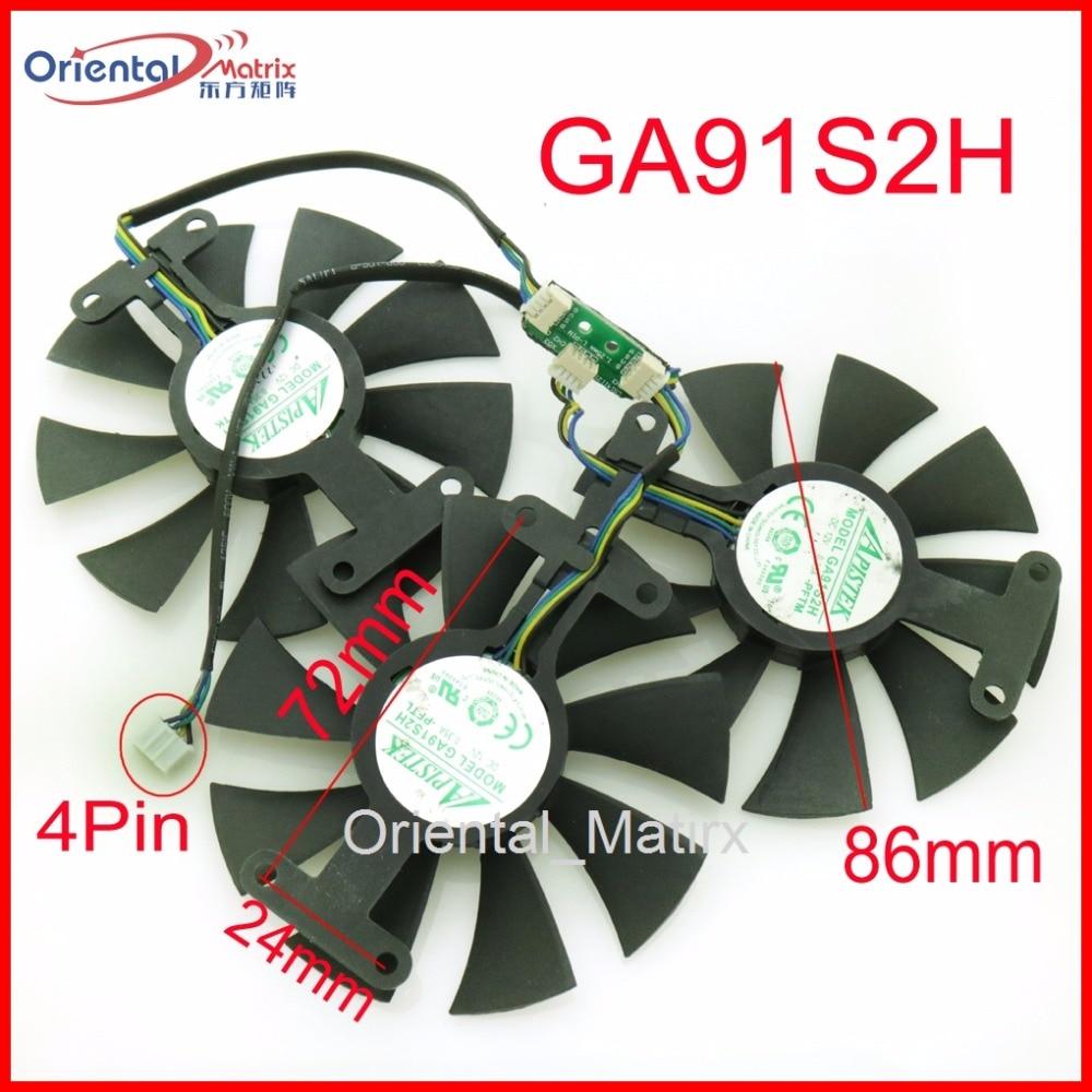 Free Shipping 3pcs Lot GA91S2H 12V 0 35A 4Pin 86mm VGA Fan For ZOTAC GTX980TI 6GD5