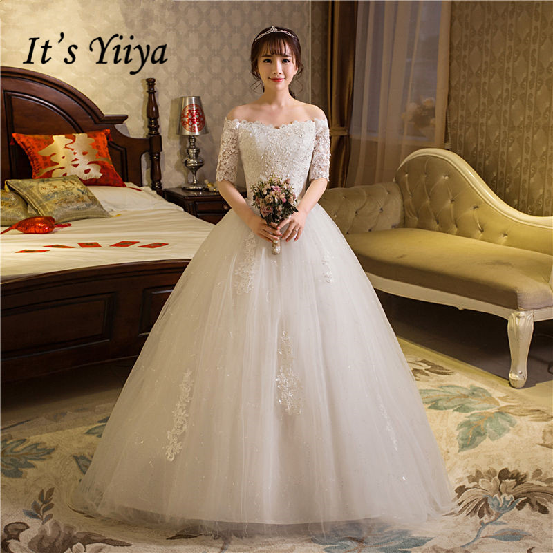 Free Shipping 2017 Plus Size Boat Neck Lace Half Sleeves Lace Bling Wedding Dresses Bride Ball Gowns Vestidos De Novia HS259