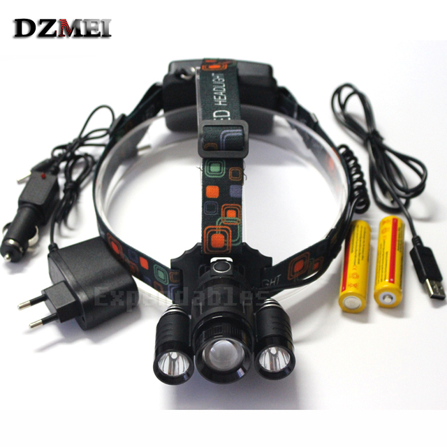 Zoomable Adjust Focus 8000 LM XM-L T6 Head Lamp High Power LED Headlamp 4 Mode LED Headlight+ Charger+2x18650 battery +USB