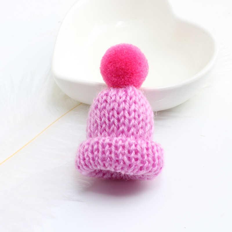 Fashion Cute Mini Warna-warni Wol Rajutan Hairband Topi Pin Bros untuk Wanita Pria Lencana Kerah Topi Sweater Pin Aksesoris Hadiah