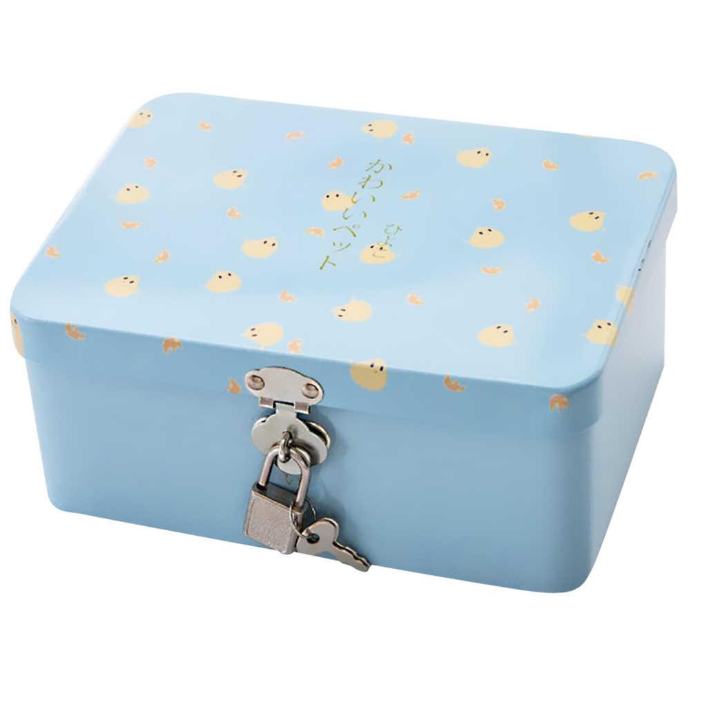 Tinplate Box With Lock Insurance Storage Box Desktop Storage Organizer Cute Chicken Blue