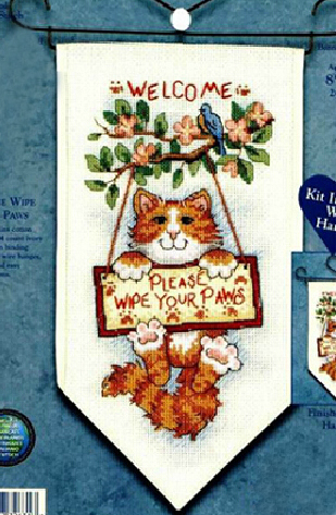 Banners for a cozy home decoration welcome please wipe your paws counted cross stitch kits 14ct cat embroidery set 2014 Newest