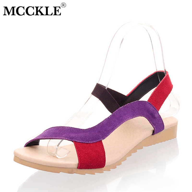 MCCKLE Women Sandals Hitcolor Wedges Shoes Plus Size For Female Cow Suede Ladies Flat Shoe For Woman Causal Beach Sandal