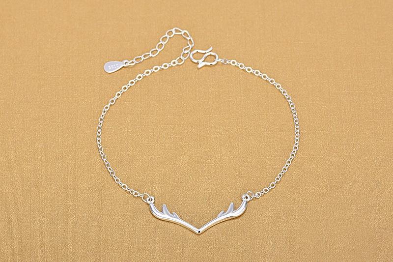 TJP New Fashion Antlers Silver Bracelets For Women Party Jewelry Top Quality 925 Silver Girl Wedding Birthday Bracelets Bijou in Charm Bracelets from Jewelry Accessories