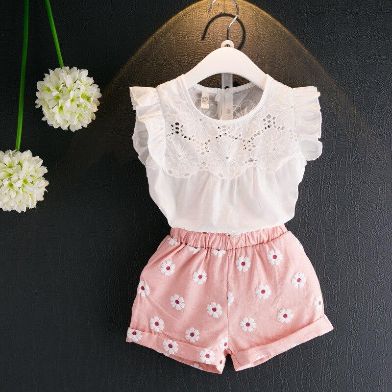 2b84da553cb9 Ropa para niños niñas verano 2019 moda 2 piezas camiseta sin mangas +  conjunto de pantalones cortos para niñas tamaño 3 5 5 5 6 6 7 8 año