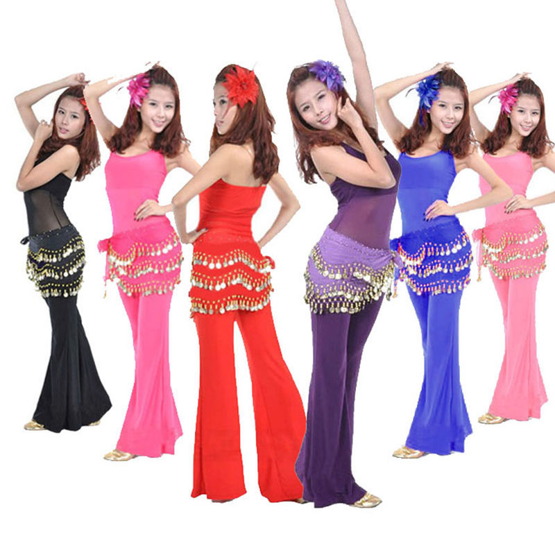 1 Pc Leuke Buikdans Hip Chiffon Rok Sjaal Wrap Riem Met Gouden Munten In 3 Rijen 11 Kleuren Dansen Accessoires
