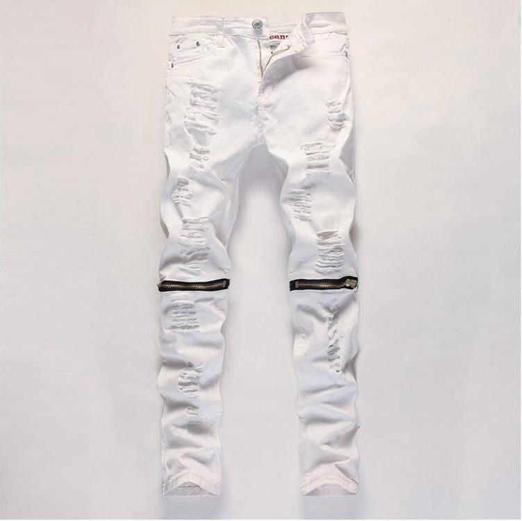 #2721 2017 Skinny Hip hop jeans Men biker jeans Fashion Mens distressed jeans Red/Black/White ripped jeans Bikers Pantalon homme