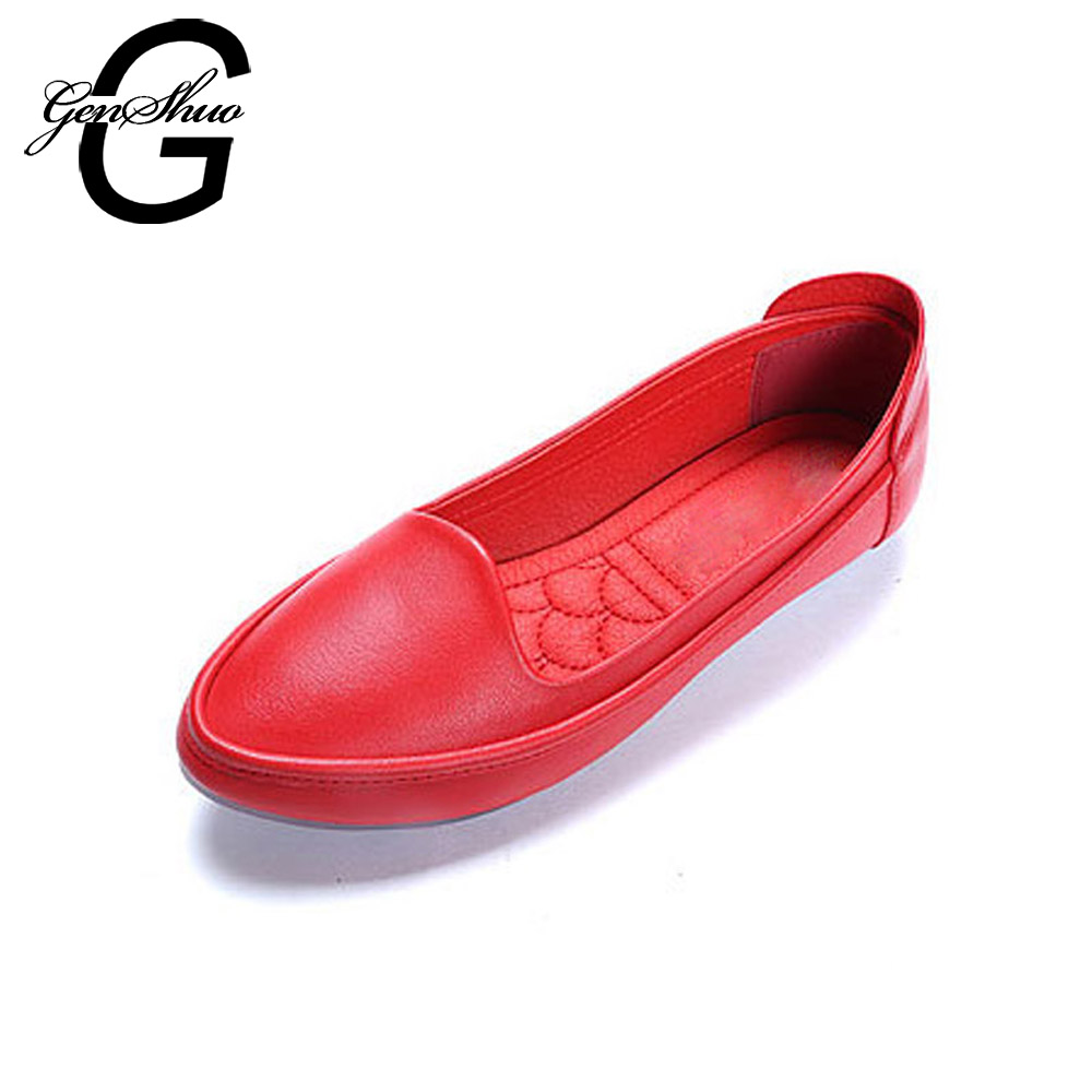 GENSHUO Flats Shoes Women 2018 Casual Round Toe Women Ballet Flats Shoes Moccasins Casual Shoes Female Black Red Small size 33 plusbig size 34 43 women s fashion shoes woman flats spring shoes female ballet shoes metal round toe solid casual shoes 237