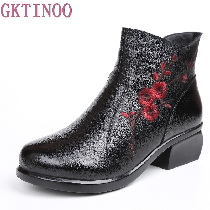 Winter Women Shoes Fashion Embroider High heels Round Toe Floral Ankle Boots Genuine Leather Shoe Square Heels Size 35-41