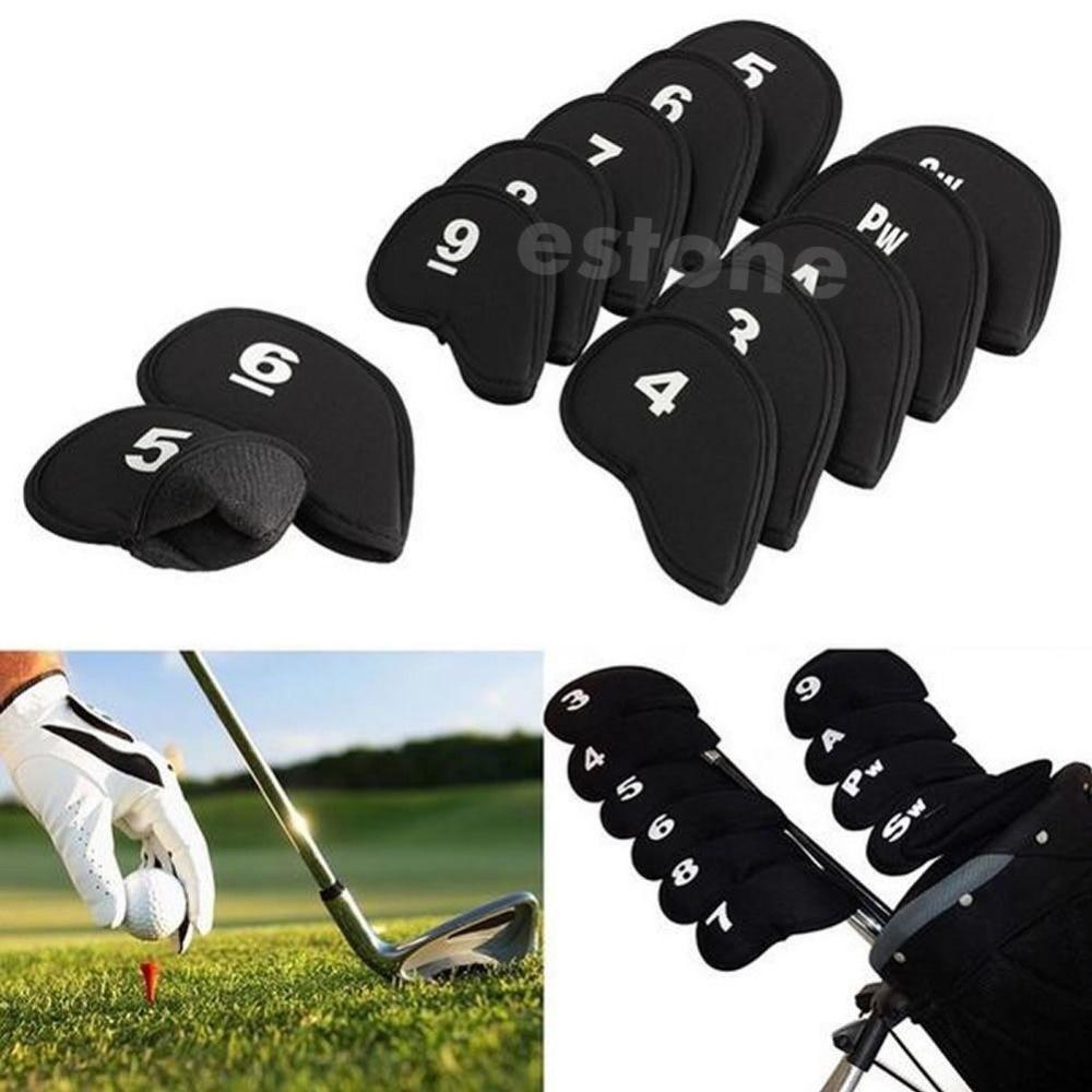10pcs Black Golf Head Cover Club Iron Putter Head Protector Set Neoprene 10166
