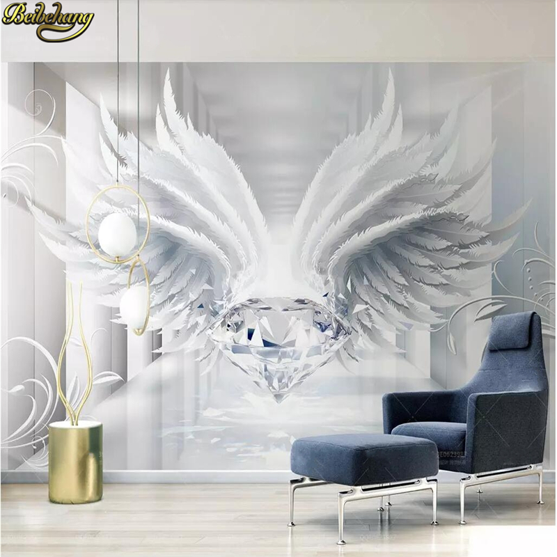 Beibehang Mural Wallpaper 3D Stereoscopic European Style Space Jewelry Wing Flower Wallpaper For Walls 3 D Hotel Living Room