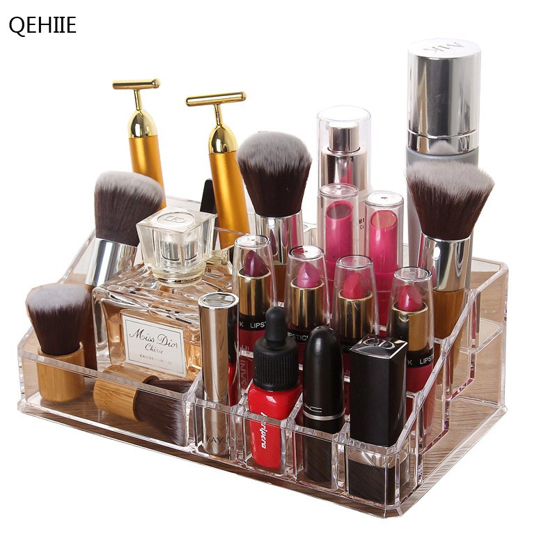 QEHIIE Transparent cosmetic storage box make-up artist essential desktop lipstick nail polish makeup tools finishing box