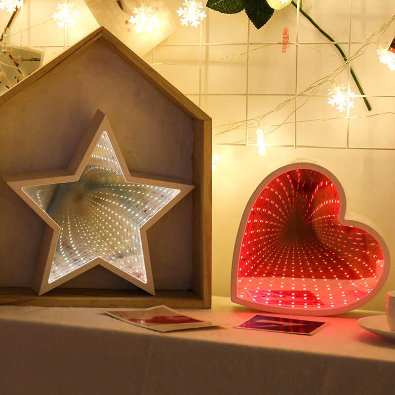 크리 에이 티브 3D 별 사랑 구름 심장 파인애플 터널 램프 귀여운 참신 밤 빛 요정 램프 아기 크리스마스 장식