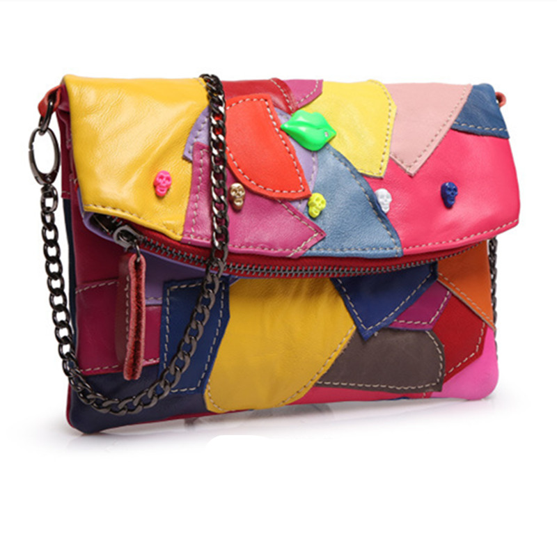 2016 Summer Women Handbag Genuine Leather Women Messenger Bag Chains Patchwork Crossbody Bag Multicolor High Quality Design цена