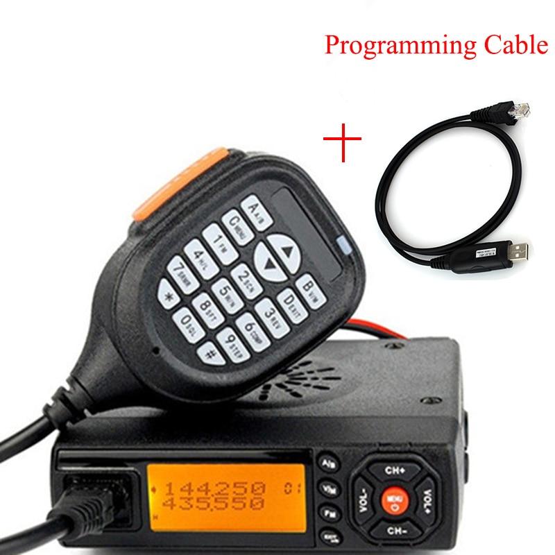 Baojie Radio móvil BJ-218 144/430 MHz VHF/UHF 25 W banda Dual coche Radio para coche autobús Taxi con Cable de programación