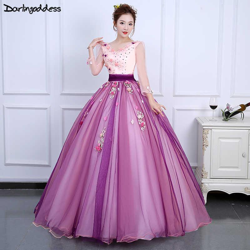 b3dff634deb Vestido 15 quinceanera 2018 дешевые одежда с длинным рукавом Бальные платья  Фиолетовый вечернее платье с открытой
