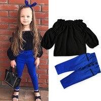 MUQGEW Girls Clothing Off Shoulder Tops Pants 2Pcs Set Suit Outfits Clothes Kids Tracksuit Kids Hip