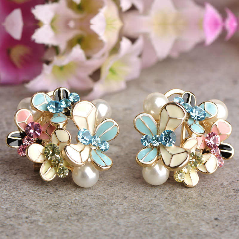Blucome Simulated Pearl Enamel Jewelry Sets Blue Flower Necklace Earrings Ring Set For Women Bridal Bijoux Wedding Accessories