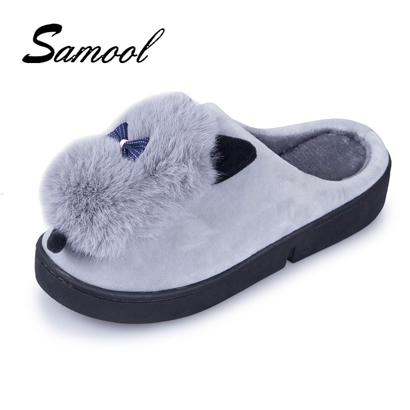 Household Cotton Slippers Women Keep Warm Med Heel Cotton