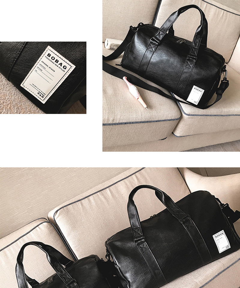 Gym Bag Leather Sports Bags Big MenTraining Tas for Shoes Lady Fitness Yoga Travel Luggage Shoulder Black Sac De Sport XA512WD (13)