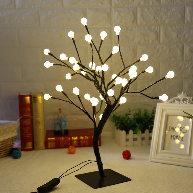 New 36 Leds Ball Light Tree Desk Top Bonsai Tree Light White 0.45M Black Branches Festival Home Party Wedding Indoor Decoration