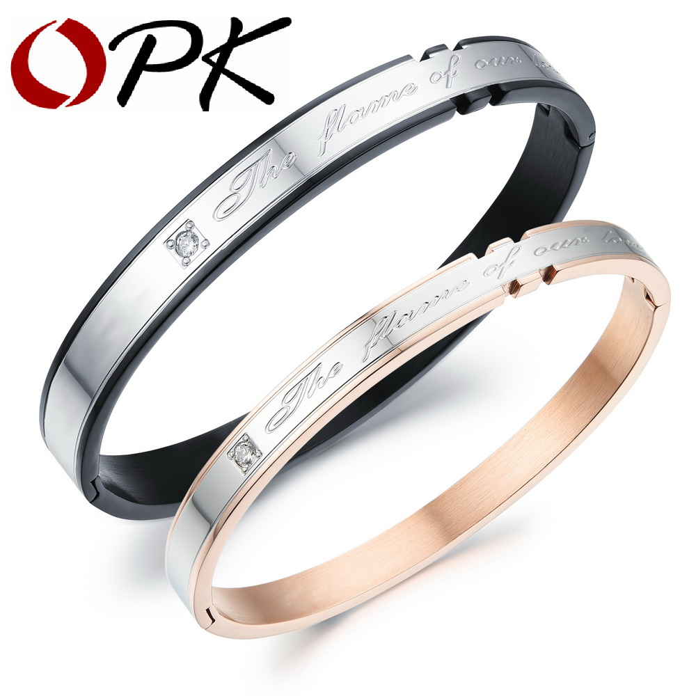 OPK Casual Stainless Steel Couple Bangles Fashion Sporty AAA+ Cubic Zirconia Women Men Jewelry Best Gift Charms GH788 кольцо opk 316l aaa 3 gj447