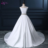 Waulizane Lustrous Satin Scoop Ball Gown Wedding Dresses Beading Crystals Bow Sashes Cap Sleeves Bridal Dresses