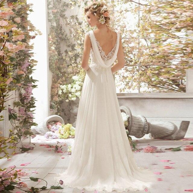 LAMYA Wedding Dress 2019 Beach Bridal Gown Chiffon Lace Appliques Wedding Dresses White/Lvory Backless Vestido De Noiva 1