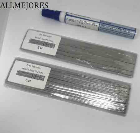 ALLMEJORES Solar Tab wire 20meters 1.2mmx0.25mm + 2m 5mmx0.2mm Give 1pcs flux pen for free.Solar panel solder strip Big sales