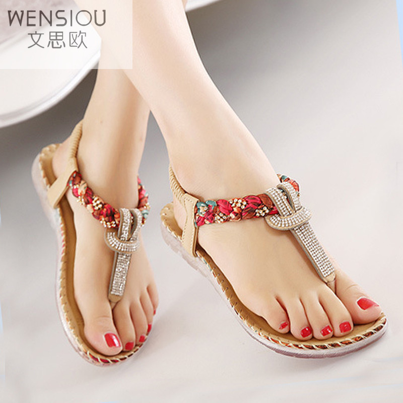 Summer Women Bohemia Gladiator Sandals Women Shoes Flat Shoes Sandalias Mujer Ladies Shoes New Flip Flops 2017 BT538 new sandals women 2016 summer casual women shoes roman gladiator girls flat sandals ladies white flip flops nice sandals