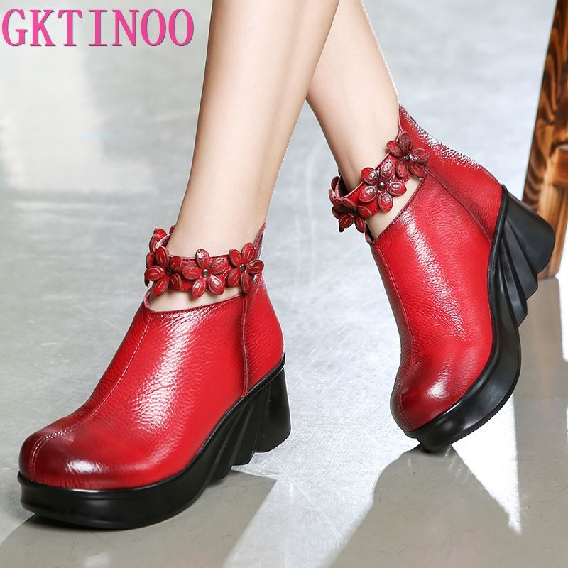 GKTINOO Boots Women Comfortable Autumn Genuine Leather Ankle Boots for Women Soft Wedges Platform Shoes Ladies