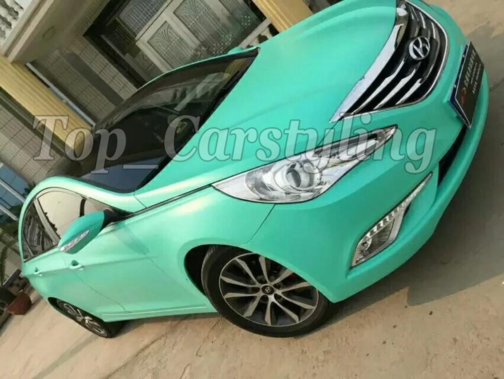 Matte tiffany blue mint green vinyl car wrapping film 3m satin white car wrap Film Foile (8)