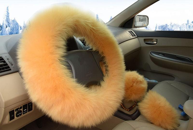 Winter Warm Wool Handbrake Cover Gear Shift Cover Steering Wheel Cover 38cm diameter 1 Set 3 Pcs 1